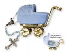 Baby Boy Blue Rosary in Pram