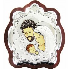 Sterling Silver Holy Family Icon 14x13cm