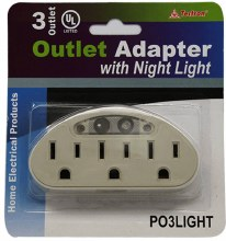 3 OUTLET  ADAPTOR W/LIGHT 12CT