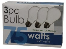 3PC 75WATTS BULB WHITE 30CT