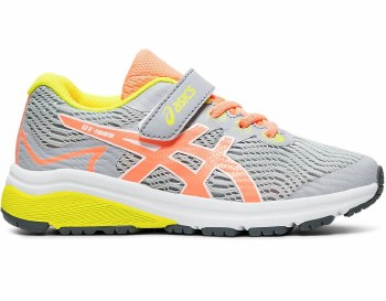 Asics GT1000 8 PS Kids Velcro (Grey Coral Yellow) 9