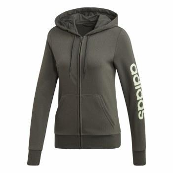 Adidas Linear Full Zip  Ladies Hoody (Olive Green) XS