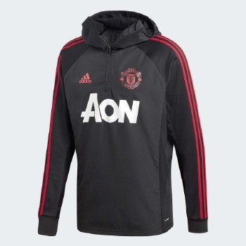 Adidas MUFC Warm Up Top Black Red Mens 18/19 Small