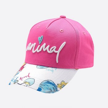 Animal Blossom Adjustable Cap Girls (Pink White Floral) Small - Medium