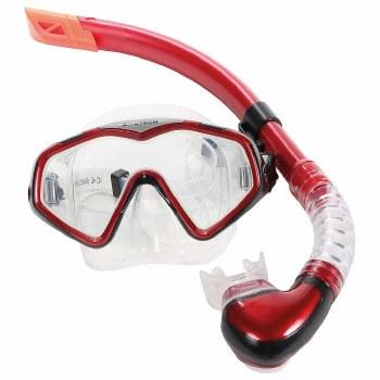 Divetech Pro Cayman Silicone Mask & Snorkle Set Adult (Red Black)