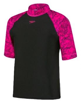 Speedo Boom Girls Rash Vest (Black Pink) Age 12