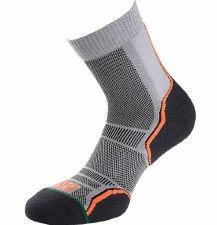 1000 Mile Trail Sock 2 Pair Pack (Light Grey Black Orange) 6-8.5 Uk