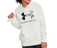 Under Armour Rival Fleece Sportsstyle Graphic Hoodie (White Black) Medium