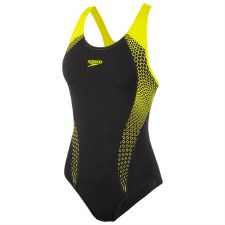 Speedo Placement Laneback Swimsuit (Black Flo Yellow) 36/14