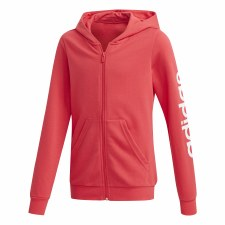 Adidas Linear Girls Full Zip Hoodie (Coral White) 9-10