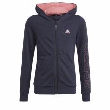 Adidas Essential Full Zip Girls Hoodie (Navy Pink) 9-10