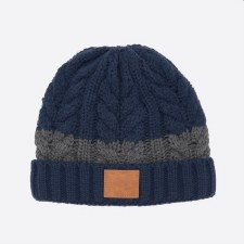 Animal Bear Knitted Beanie (Navy Grey)