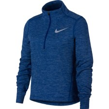 Nike Girls Long Sleeve 1/2 Zip Running Top (Melange Navy) Medium Girls
