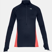 Under Armour Womens Cold Gear  Armour Graphic 1/2 Zip (Navy Coral) Large