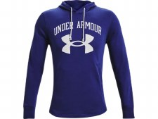 Under Armour Rival Terry Big Logo Hoodie (Blue White) Small