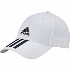 Adidas 3 Stripe Twill Hat (White Black) Adult Mens