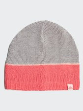 Adidas Stripy Beanie Childrens Grey Pink OSFC