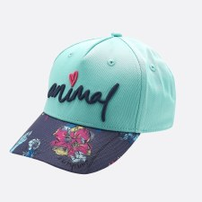 Animal Blossom Adjustable Cap Girls (Mint Green Navy Floral) Small - Medium