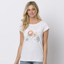 Animal Spirit Graphic Tee Ladies (White Floral Print) 10