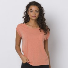 Animal Dip Hem Pocket Tee Ladies (Orange Floral Print) 8