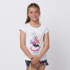 Animal Inflatables Graphic Tee Girls (White Floral Print) 3-4