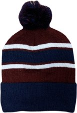CS Bobble Hat (Navy Maroon White) One Size