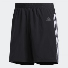 Adidas Run It Short 3 Stripe Mens (Black White) Large