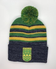 CS Ennistymon Hurling Club Bobble Hat (Melange Navy Green Amber) OSFA
