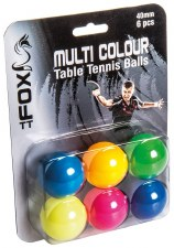 Fox Coloured Table Tennis Balls (Mixed Colours) 6 Pack