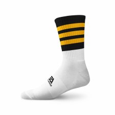 Gaelic Armour Elite Midi Sock (White Black Amber Hoops) 3-5
