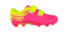 Karakal Firm Ground Velcro Boots (Pink Yellow) 10