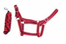 Equisential Economy Headcollar & Leadrope Set (Red Navy) Pony