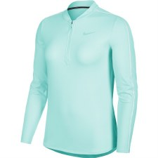 Nike Court Dri Fit 1/2 Zip Long Sleeve Top (Mint Green) Medium