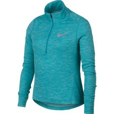 Nike Girls Long Sleeve 1/2 Zip Running Top (Melange Green) Medium Gilrs