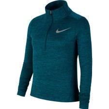 Nike Girls Long Sleeve 1/2 Zip Running Top (Melange Dark Green) Small Girls