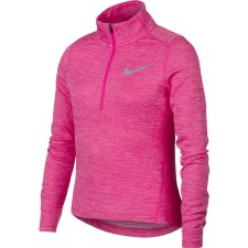 Nike Girls Long Sleeve 1/2 Zip Running Top (Melange Pink) Small Girls