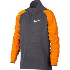 Nike Boys Dry Long Sleeve Half Zip (Grey Orange) MB