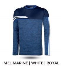 O'Neills Nevis Brushed Crew Neck (Melange Navy Royal White) Medium