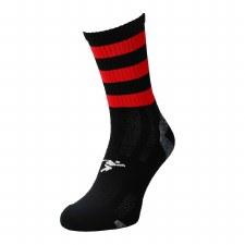 Precision Pro Hooped GAA Mid Socks (Black Red) Junior Uk 12-2