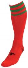 Precision Pro Football Sock (Red Green) Uk Size Boys 3-6