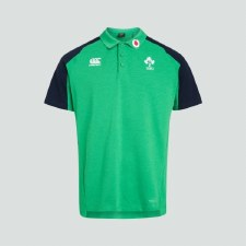 Canterbury Ireland Vapodri Cotton Pique Polo 2019-20 (Green Navy) Medium