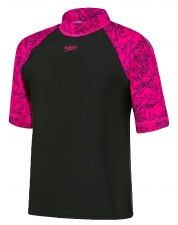 Speedo Boom Girls Rash Vest (Black Pink) Age 8