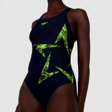 Speedo Boomstar Placement Racerback Swimsuit (Navy Green) 40