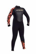 Typhoon Storm 3mm Junior Wetsuit (Black Orange Print) Small
