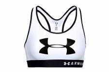 Under Armour Mid Keyhole Graphic Sports Bra (White Black) XS