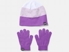 Under Armour Girls Beanie & Gloves Combo (Purple Pink) One Size Fits All Childrens