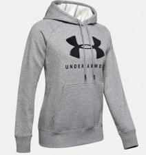 Under Armour Rival Fleece Sportsstyle Graphic Hoodie (Grey Black) XS