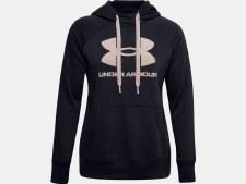 Under Armour Womens  Rival Fleece Logo Hoodie (Black Taupe) Medium