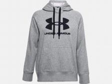 Under Armour Womens  Rival Fleece Logo Hoodie (Grey Black) XS