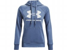 Under Armour Womens  Rival Fleece Logo Hoodie (Blue White) Small